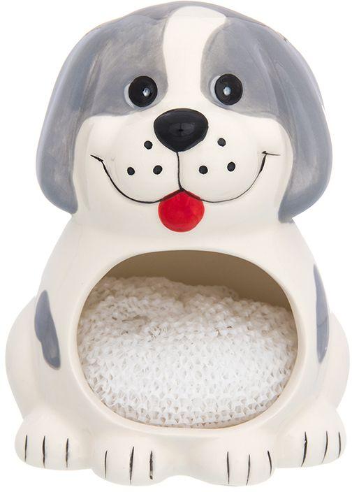 Подставка для губки Elan Gallery Собака белая с серым, с губкой, 10 х 9 х 12,7 см110934Подставка для губки - интересное и оригинальное украшение вашей кухни. С такой подставкой губка для мытья посуды всегда будет у вас под рукой. Изделие имеет подарочную упаковку.