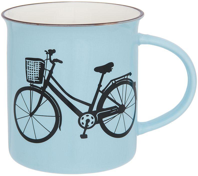 Кружка Elan Gallery Велосипед, цвет: голубой, 320 мл130013Фарфоровая кружка классической формы объемом 320 мл с удобной ручкой. Подходит для любых горячих и холодных напитков, чая, кофе, какао.