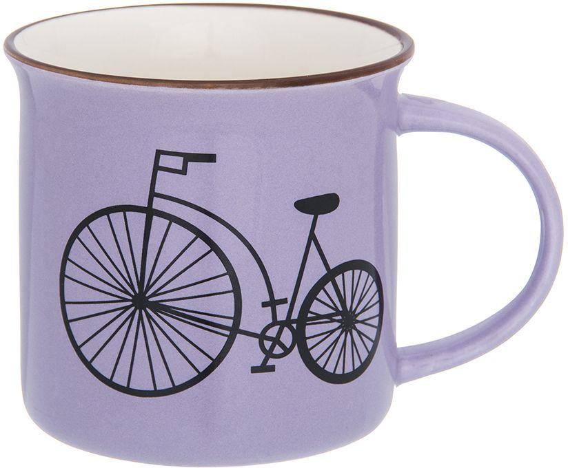 Кружка Elan Gallery Велосипед, цвет: сиреневый, 210 мл130016Фарфоровая кружка классической формы объемом 210 мл с удобной ручкой. Подходит для любых горячих и холодных напитков, чая, кофе, какао.