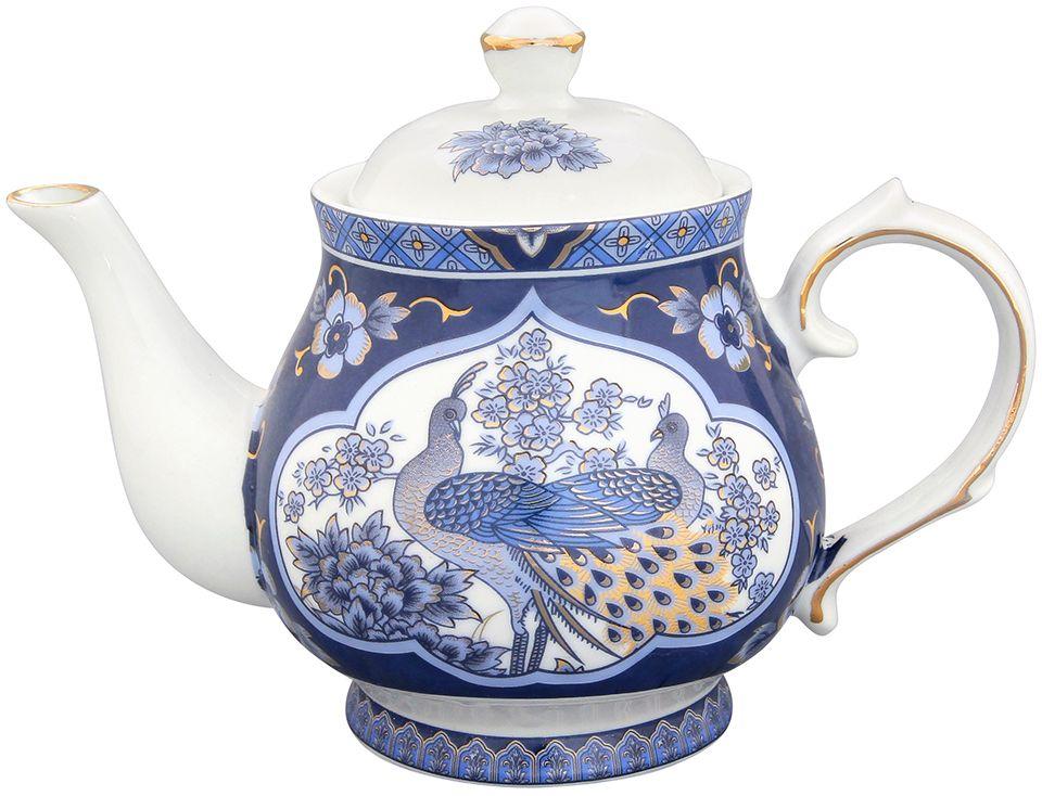 Чайник Elan Gallery Павлин синий, 430 мл180493Изысканный заварочный чайник украсит сервировку стола к чаепитию. Благодаря красивому утонченному дизайну и качеству исполнения он станет хорошим подарком друзьям и близким. Не рекомендуется применять абразивные моющие средства.