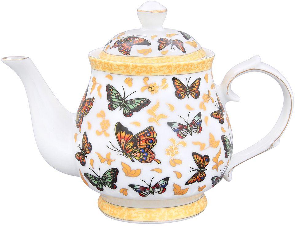Чайник Elan Gallery Бабочки, 430 мл180496Изысканный заварочный чайник украсит сервировку стола к чаепитию. Благодаря красивому утонченному дизайну и качеству исполнения он станет хорошим подарком друзьям и близким. Не рекомендуется применять абразивные моющие средства.