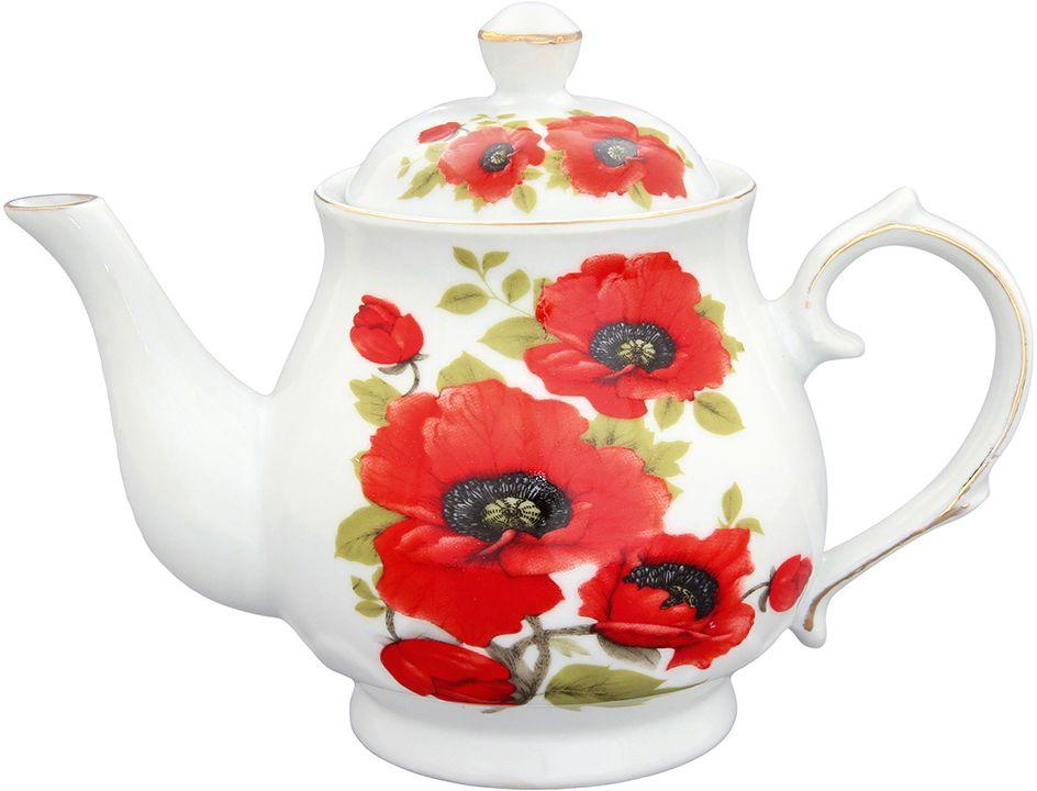 """Изящный заварочный чайник Elan Gallery """"Маки"""", изготовленный из высококачественной керамики с прекрасным цветочным дизайном прекрасно дополнит интерьер вашей кухни.Благодаря красивому утонченному дизайну и качеству исполнения он станет хорошим подарком друзьям и близким.  Объем: 430 мл."""