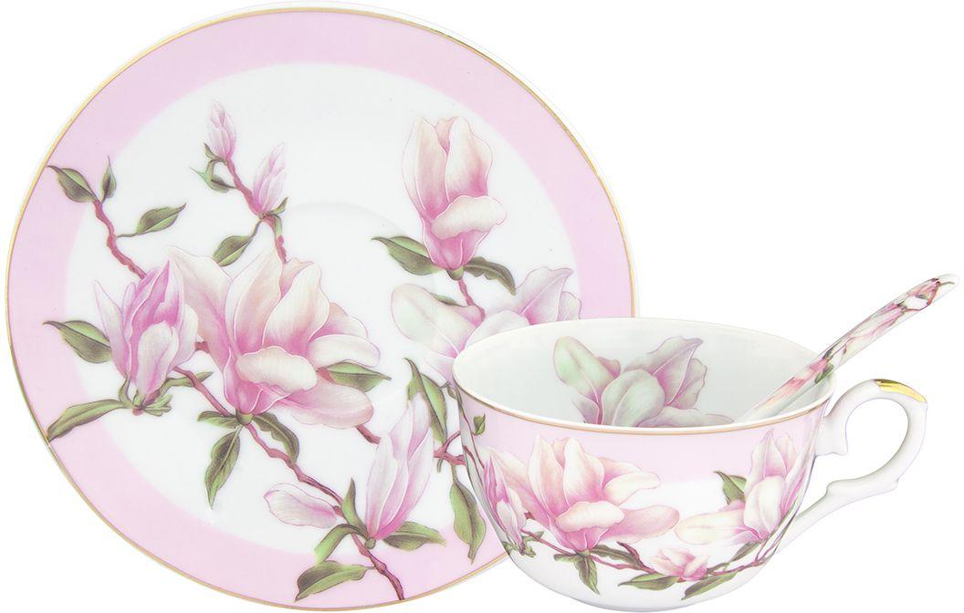 Чайная пара Elan Gallery Орхидея на розовом, с ложкой, 250 мл, 2 предмета180693Чайный набор с изумительным цветочным декором на 1 персону украсит Ваше чаепитие. В комплекте чашка объемом 250 мл, блюдце, ложка. Изделие имеет подарочную упаковку, поэтому станет желанным подарком для ваших близких! Не рекомендуется применять абразивные моющие средства. Не рекомендуется применять абразивные моющие средства. Не использовать в микроволновой печи