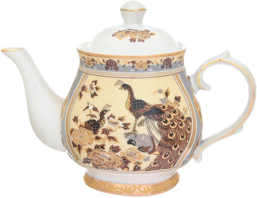 Чайник Elan Gallery Павлин на бежевом, 430 мл180862Изысканный заварочный чайник украсит сервировку стола к чаепитию. Благодаря красивому утонченному дизайну и качеству исполнения он станет хорошим подарком друзьям и близким. Не рекомендуется применять абразивные моющие средства.