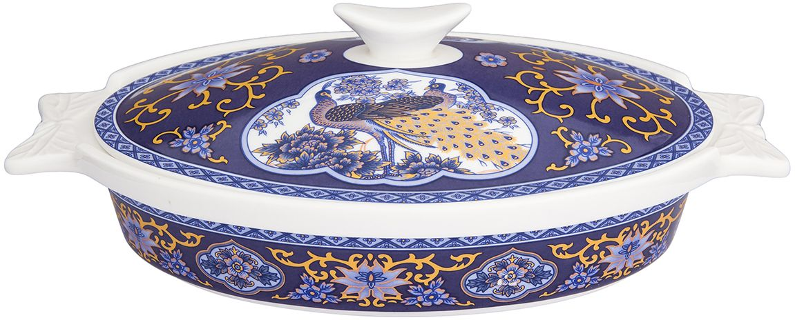 Блюдо для запекания Elan Gallery  Павлин синий , с крышкой, 25 х 15,5 х 8,5 см - Посуда для приготовления