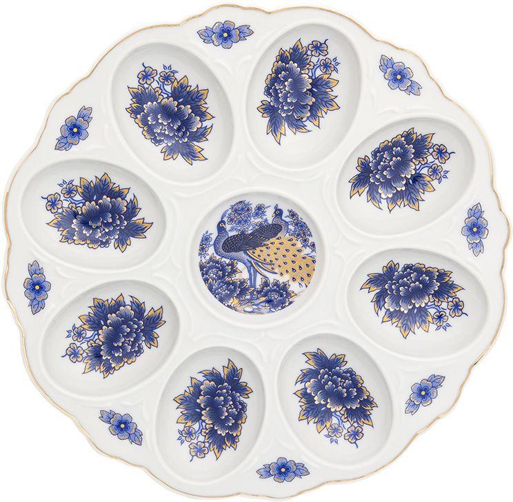 Тарелка для фаршированных яиц Elan Gallery Павлин синий, 20 х 20 х 2 см тарелки декоративные elan gallery тарелка декоративная павлин на красном