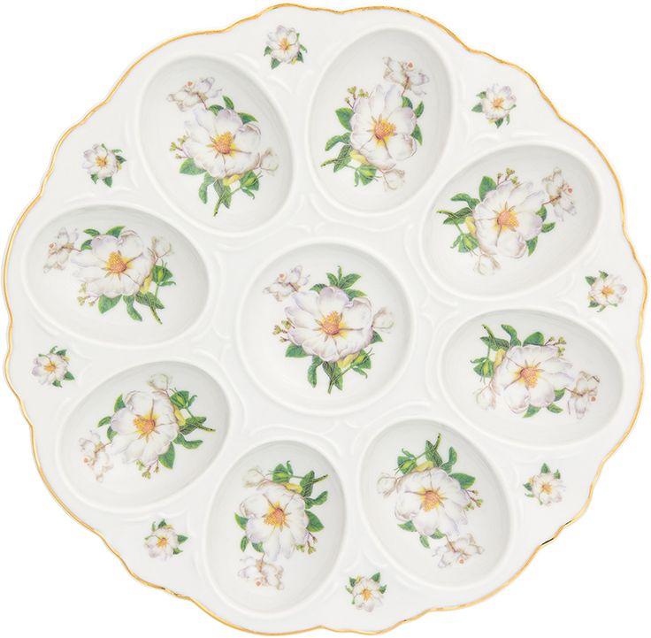 Тарелка для фаршированных яиц Elan Gallery Белый шиповник, 20 х 20 х 2 см181039Тарелка для фаршированных яиц украсит ваш праздничный стол. На изделии имеются специальные углубления для 12 яиц. Такая тарелка украсит сервировку вашего стола и подчеркнет прекрасный вкус хозяйки. Изделие упаковано в подарочную коробку, поэтому станет желанным подарком для ваших близких!