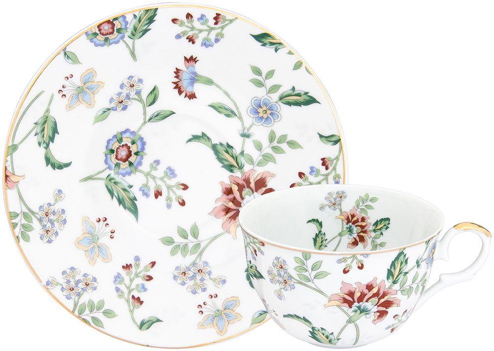 Чайная пара Elan Gallery Цветочный каприз, с ложкой, 250 мл, 2 предмета181070Чайная пара в красивой подарочной упаковке. Легкие изящные чашки на ножке объемом 270 мл, большие блюдца. Этот чайный сервиз подходит для праздничного стола и является великолепным подарком!