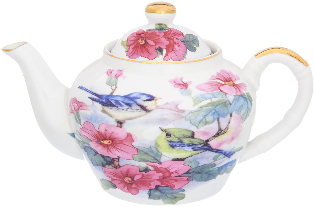 Чайник заварочный Elan Gallery Синички в цветах, 700 мл181076Изящный вместительный чайник объемом 700 мл с удобной ручкой и широким носиком. В основании носика сделаны фильтрующие отверстия от попадания чаинок в чашку.