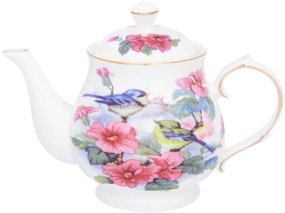 Чайник Elan Gallery Синички в цветах, 450 мл181078Изящный вместительный чайник объемом 450 мл удобной ручкой и широким носиком.В основании носика сделаны фильтрующие отверстия от попадания чаинок в чашку. Изделие имеет подарочную упаковку.