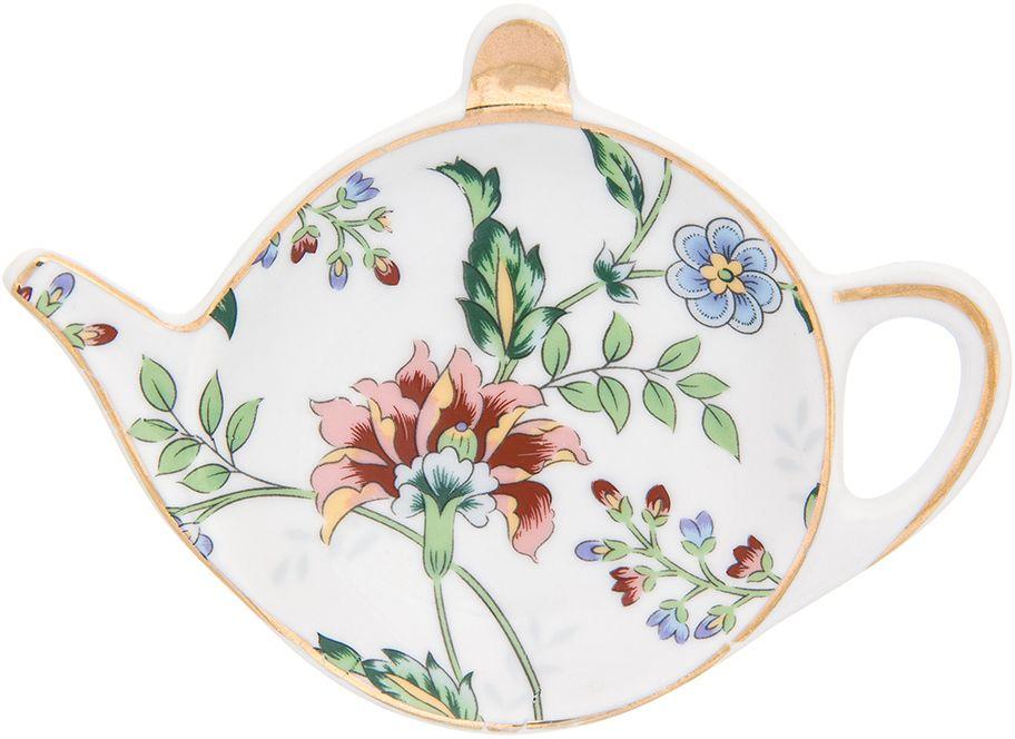 Подставка под чайный пакетик Elan Gallery Цветочный каприз, 11 х 7 х 1,5 см181097Розетка-подставка для чайных пакетиков Цветочный каприз, выполненная в форме чайничка, изготовлена из высококачественного фарфора. Розетка-подставка придется по вкусу любой хозяйке, так как кухонный стол всегда останется чистым, без нежелательных разводов от чайных пакетиков.