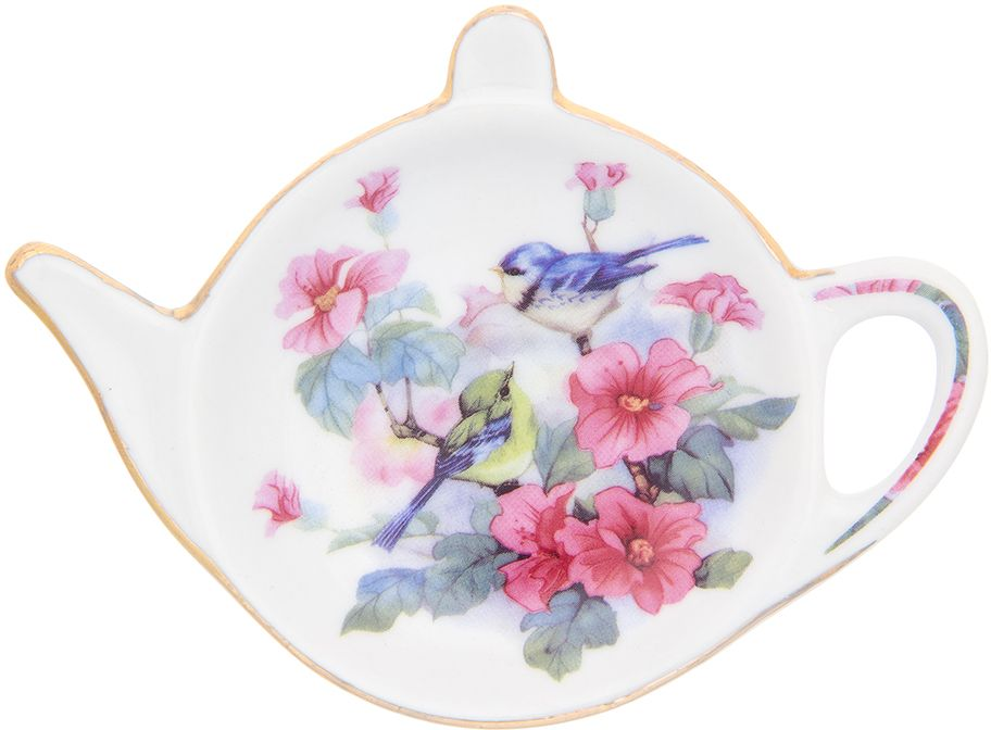 Подставка под чайный пакетик Elan Gallery Синички в цветах, 11 х 7 х 1,5 см181098Розетка-подставка для чайных пакетиков Синички в цветах, выполненная в форме чайничка, изготовлена из высококачественного фарфора. Розетка-подставка придется по вкусу любой хозяйке, так как кухонный стол всегда останется чистым, без нежелательных разводов от чайных пакетиков.