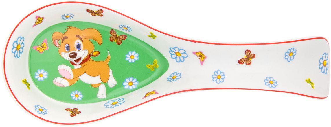 Подставка под ложку Elan Gallery Щенок с бабочками в цветах на зеленом, 21 х 8 х 4 см181109Подставка под ложку с символом 2018 года станет помощником на кухне и оживит интерьер благодаря веселой расцветке. Символ 2018 года по восточному (китайскому) календарю – Желтая Земляная Собака, которая весь год будет на страже вашего благополучия. Изделие имеет отверстие для подвешивания. Упаковано в подарочную коробку, поэтому станет желанным подарком для ваших близких!