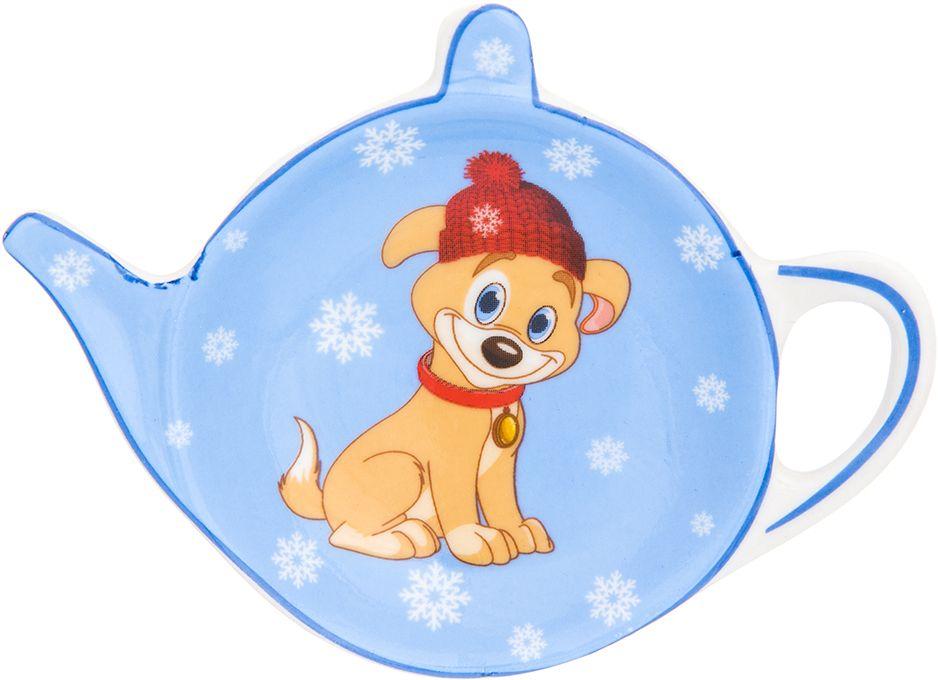 Подставка под чайный пакетик Elan Gallery Щенок в шапке со снежинками на голубом, 11,5 х 8,5 х 1,5 см подставки для чайных пакетиков elan gallery подставка под чайный пакетик белый шиповник