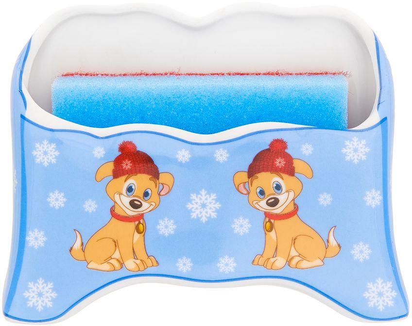 Подставка для губки Elan Gallery Щенок в шапке со снежинками на голубом, с губкой, 12,5 х 5 х 9,5 см органайзеры на мойку elan gallery подставка для губки горох на красном кружево