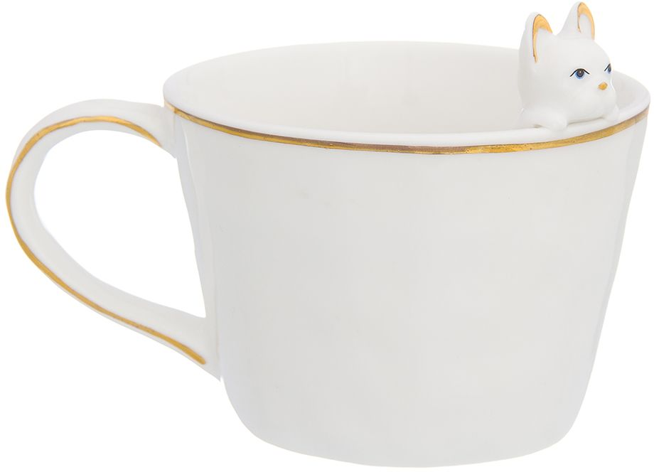 Кружка Elan Gallery Любопытный щенок французского бульдога, 360 мл330696Белая кружка с золотым ободком и маленькой фигуркой собачки, которая является символом наступающего 2018 года, может стать необычным подарком для ваших друзей