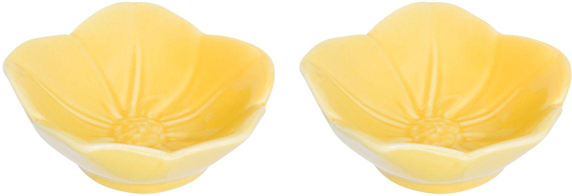 Розетка для варенья Elan Gallery Распустившийся цветок, цвет: желтый, 10,5 х 10,5 х 3 см, 2 шт380065Красивые, нежные и вместительные розетки Elan Gallery из коллекции Распустившийся цветок для варенья подходят не только для сладких лакомств. Их можно использовать для орехов, оливок, каперсов, корнишонов и соусов. Выполнены из керамики.У вас намечается праздник, придет много гостей и надо сервировать большой стол - розетки идеальное дополнение для сервировки.Изделие имеет подарочную упаковку, идеальный подарок для ваших близких!