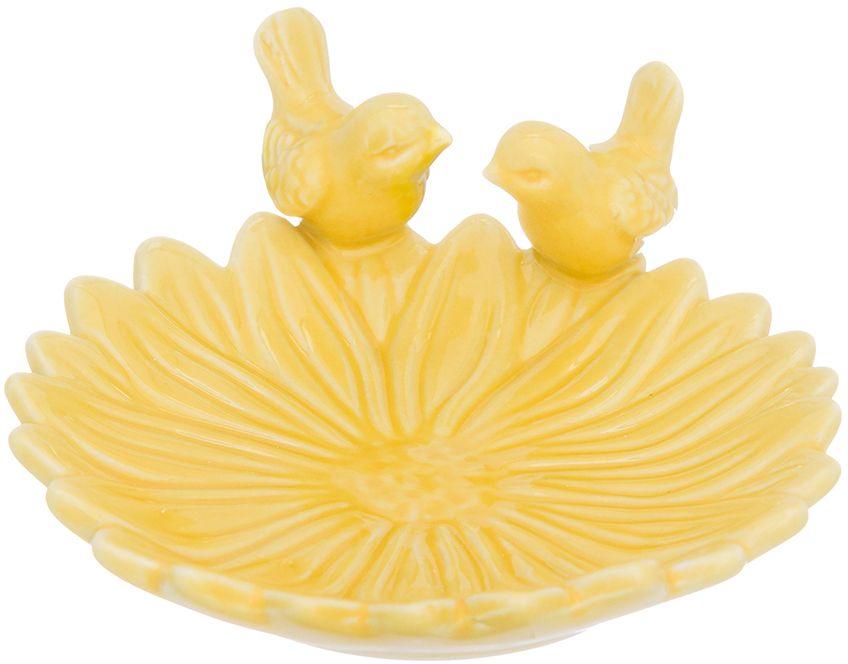 Блюдо сервировочное Elan Gallery Птички на цветке, цвет: желтый, 14 х 12 х 5 см380069Сервировочное блюдо Птички на цветке от Elan Gallery прекрасно дополнит праздничную сервировку и подчеркнет ваш изысканный вкус.Идеально для подачи десертов, мелкой закуски, рыбы, а так же нарезки и деликатесов.