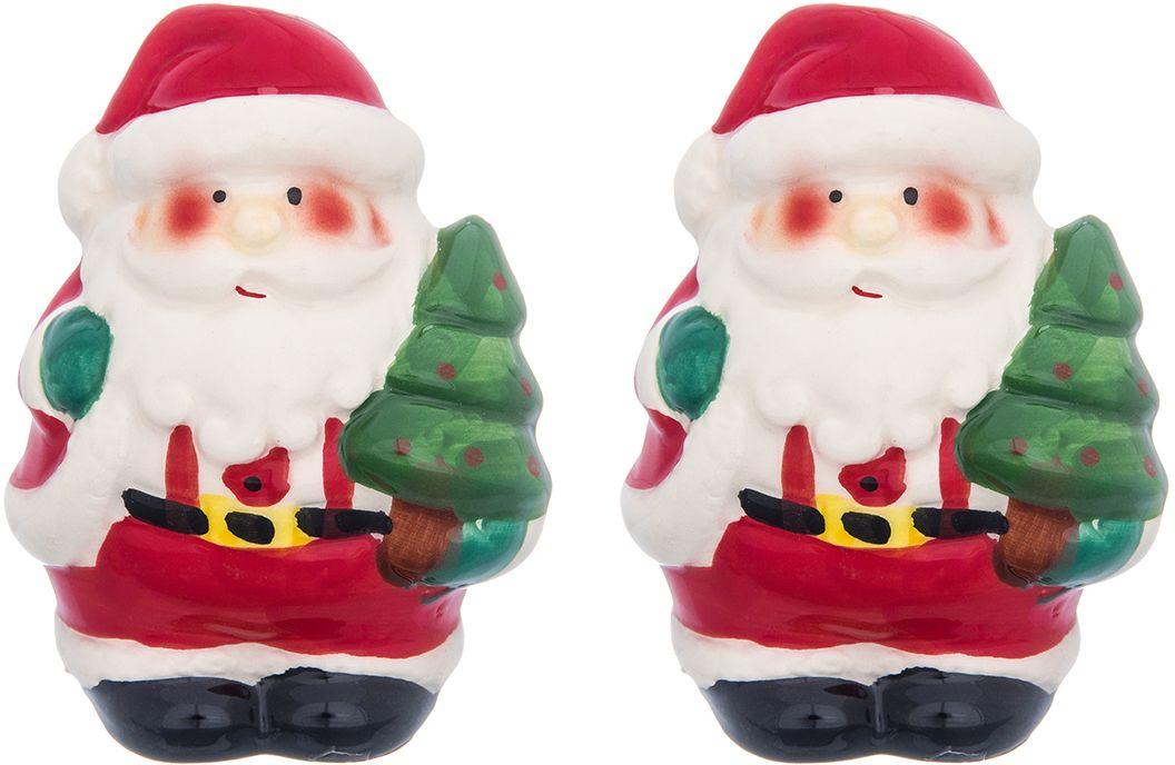 Набор для специй Elan Gallery Дед Мороз, 2 предмета380093Необычный набор под специи в форме Деда Мороза будет уместен на праздничном столе и на любой кухне и поможет разнообразить сервировку стола, сделав ее интереснее!