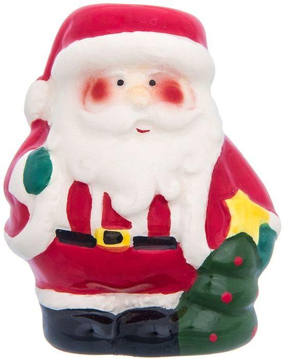 Вазочка под зубочистки Elan Gallery Дед Мороз, цвет: красный, белый, зеленый, 5,5 х 4,8 х 7 см