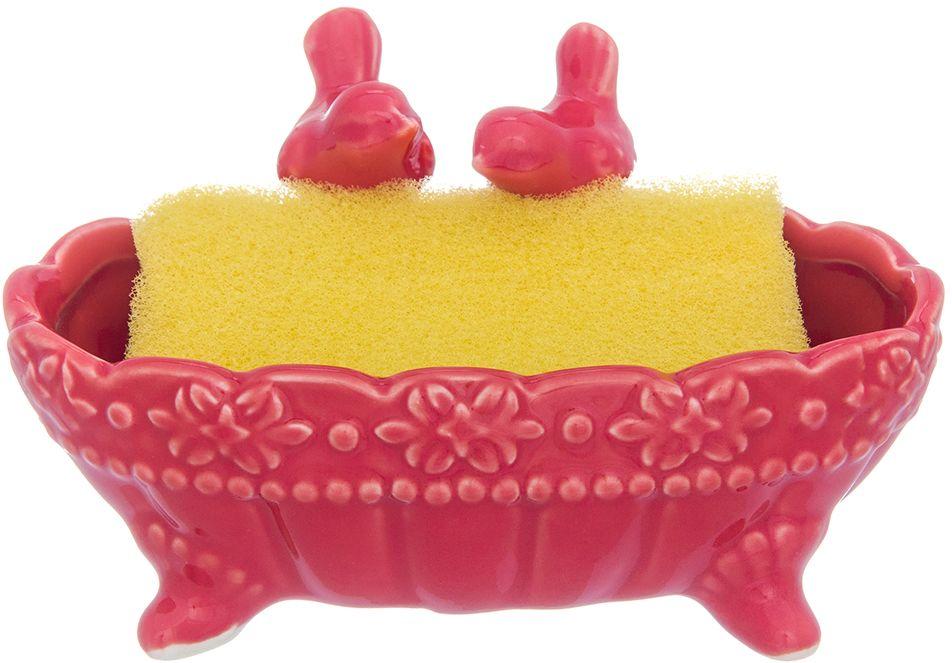 Подставка для губки Elan Gallery Птички в ракушке, с губкой, цвет: красный, 13,5 х 7 х 7 см161245-000_фиолетовыйПодставка для губки Elan Gallery - это интересное и оригинальное украшение вашей кухни. Она выполнена из керамики.С такой подставкой губка для мытья посуды всегда будет у вас под рукой. Губка в комплекте.