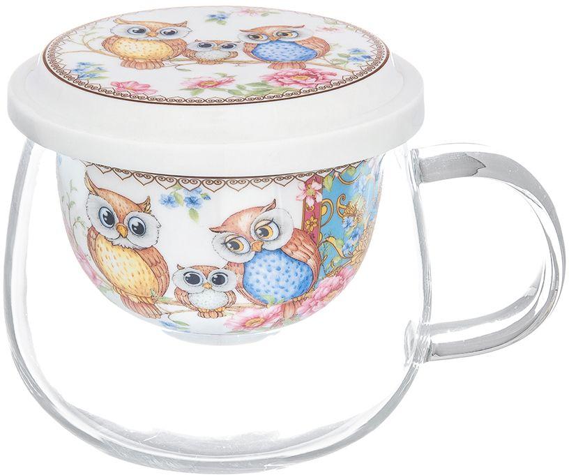Кружка Elan Gallery Совушки, с крышкой, 430 мл420161Кружка из стекла для заваривания чая Совушки. В комплекте кружка, крышка, фарфоровое сито. Изделие имеет подарочную упаковку, поэтому станет желанным подарком для ваших близких.