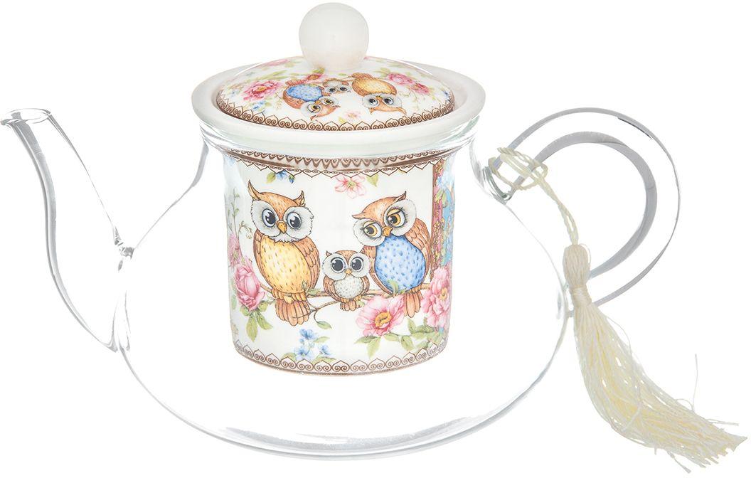 Чайник Elan Gallery Совушки, 600 мл420164Необычный заварочный чайник Совушки с фарфоровым ситом и крышкой. Корпус чайника сделан из стекла, сито и крышка - из фарфора с оригинальным дизайном. Посуда из коллекции Совушки станет лучшим подарком для ваших друзей и коллег, ведь Сова - это символ мудрости! Добавьте в Ваше чаепитие загадочности и волшебства, собрав всю коллекцию! Изделие имеет яркую подарочную упаковку.