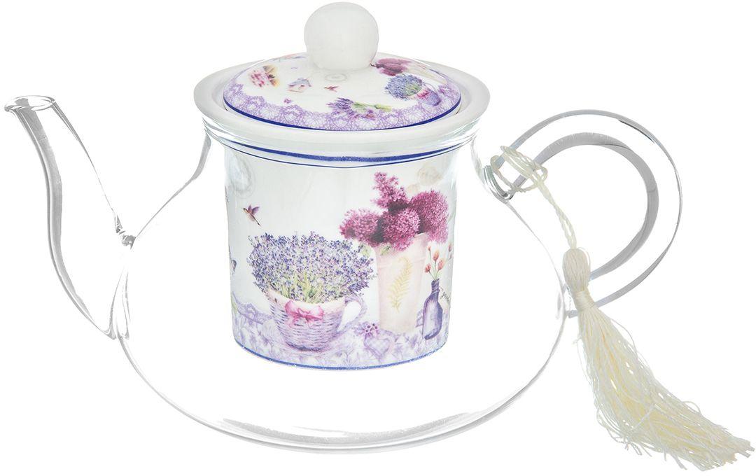 Чайник Elan Gallery Лаванда, 600 мл420165Необычный заварочный чайник Лаванда с фарфоровым ситом и крышкой. Корпус чайника сделан из стекла, сито и крышка - из фарфора в стиле прованс. Красивые веточки сирени и лаванды на изделии унесут Вас в атмосферу солнечного волшебного края. Создайте все условия для уютного чаепития, дополнив набор чашками из этой же серии.Изделие имеет яркую подарочную упаковку, поэтому станет желанным подарком для ваших близких, коллег и друзей!