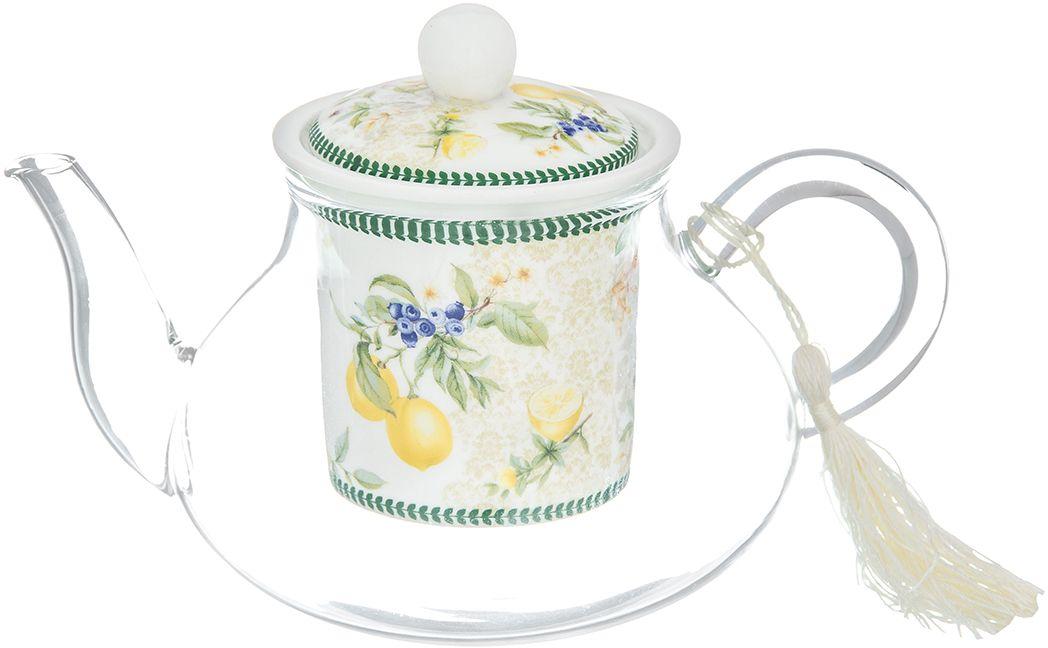 Чайник Elan Gallery Лимоны, 600 мл420166Необычный заварочный чайник Лимоны с фарфоровым ситом и крышкой. Корпус чайника сделан из стекла, сито и крышка - из фарфора, дизайн которого отличается теплым оттенком и реалистичным рисунком. Такой чайник наполнит Вашу кухню уютом и вдохнет в нее новую жизнь. Дополните набор чашками из этой же серии. Изделие имеет яркую подарочную упаковку, поэтому станет желанным подарком для ваших близких, коллег и друзей!