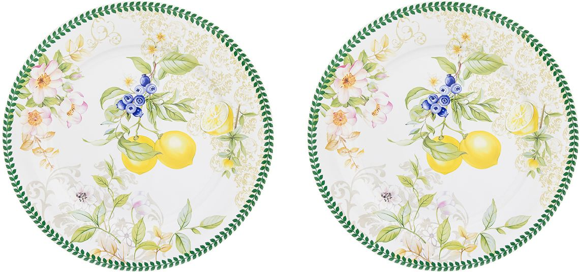 Набор тарелок Elan Gallery Лимоны, диаметр 26 см, 2 шт420179Набор Elan Gallery Лимоны состоит из 2 тарелок, выполненных из высококачественного фарфора. Изделия декорированы теплым и реалистичным рисунком. Такие тарелки наполнят вашу кухню уютом и вдохнут в нее новую жизнь. Подходят для подачи различных блюд и сервировки праздничного стола. Такие тарелки станут желанным подарком для ваших близких, коллег и друзей! Диаметр тарелки (по верхнему краю): 26 см.