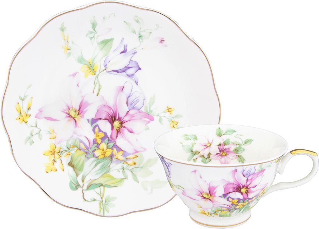 Чайная пара Elan Gallery Нежные цветы, 210 мл, 2 предмета чайная пара elan gallery бархатный нектар цвет бежевый розовый 2 предмета