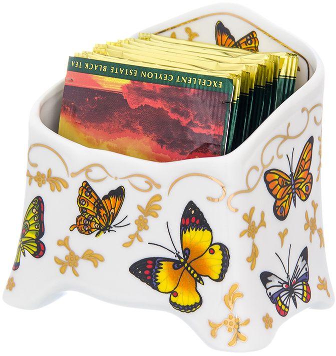 Подставка для чайных пакетиков Elan Gallery Бабочки, 10,5 х 7 х 10 см504194Подставка под чайные пакетики из коллекции Бабочки оригинальный и полезный подарок! С такой подставкой стол будет всегда чистым, без нежелательных разводов от чайных пакетиков. Объем 280 мл.