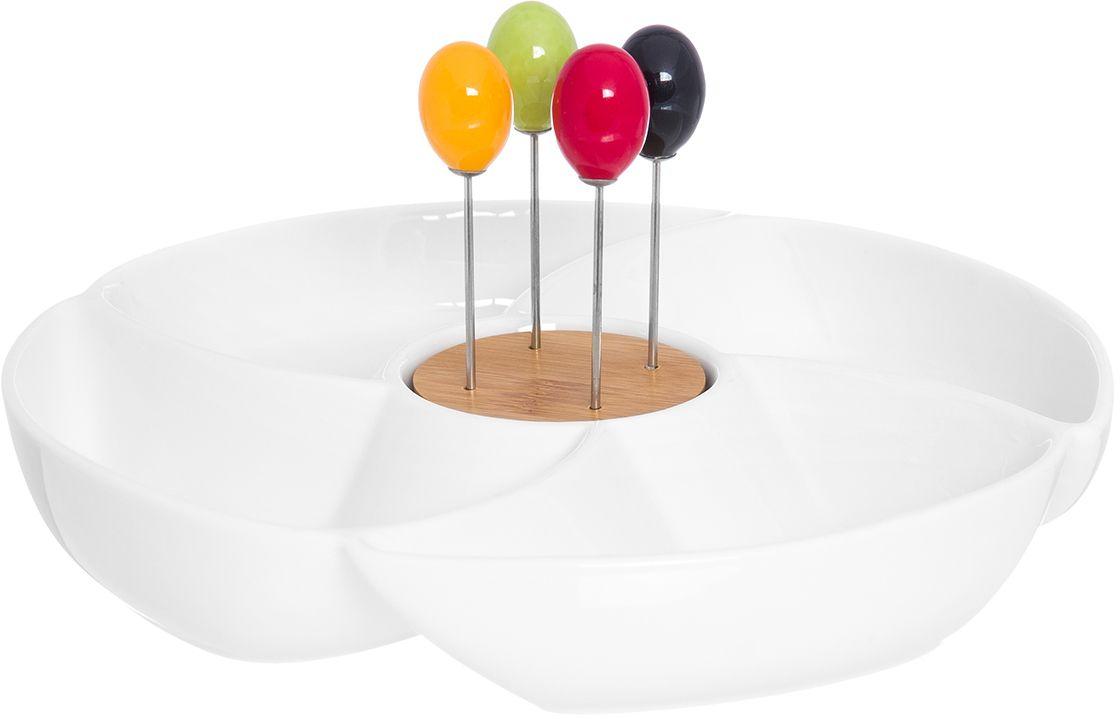 Менажница Elan Gallery Айсберг, со шпажками, 4 секции, 23,5 х 23,5 х 12 см148200_салатовый, фуксияМенажница с 4 секциями - это великолепная идея для эстетичной и удобнойсервировки вашего стола: нарядная, неординарная! Размер 23,5х23,5х12 см.