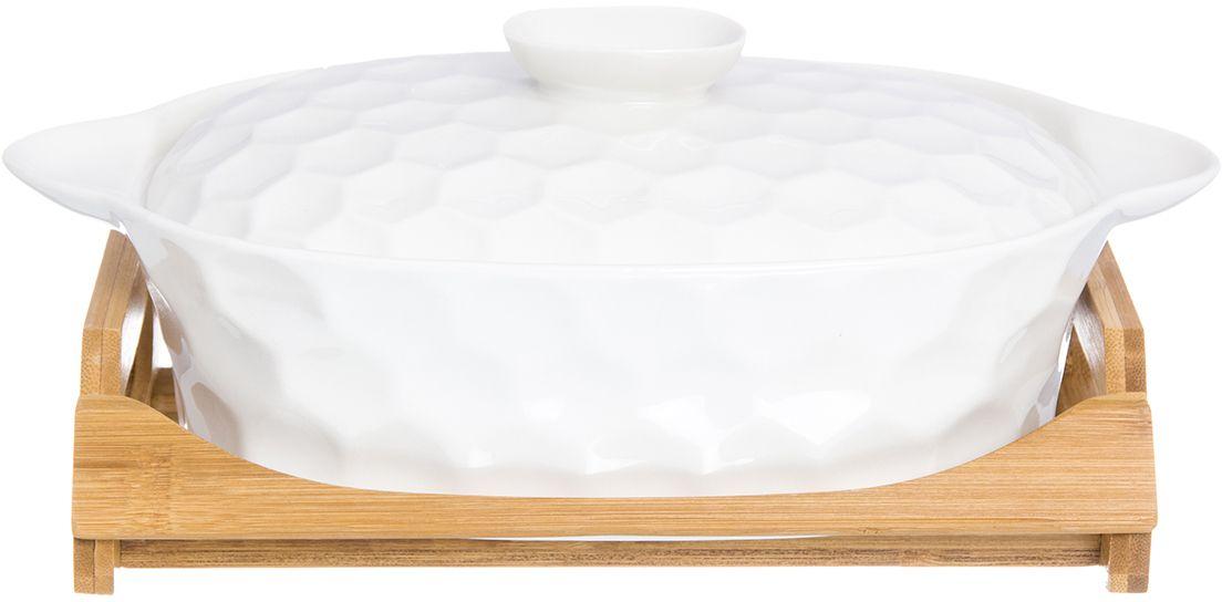 Блюдо для запекания и сервировки Elan Gallery  Соты , с крышкой, на подставке, 29,5 х 17 х 12 см - Посуда для приготовления