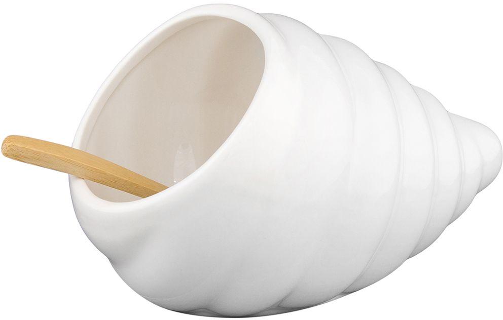 Банка для соли Elan Gallery Ракушка, с ложкой, 260 мл3330Оригинальная банка в форме ракушки подойдет не только для соли, но и для сахара, специй, и даже меда. Благодаря наклонной форме, очень удобна в использовании в повседневной жизни. Деревянная ложка в комплекте. Изделие имеет подарочную упаковку, поэтому станет желанным подарком для ваших близких!