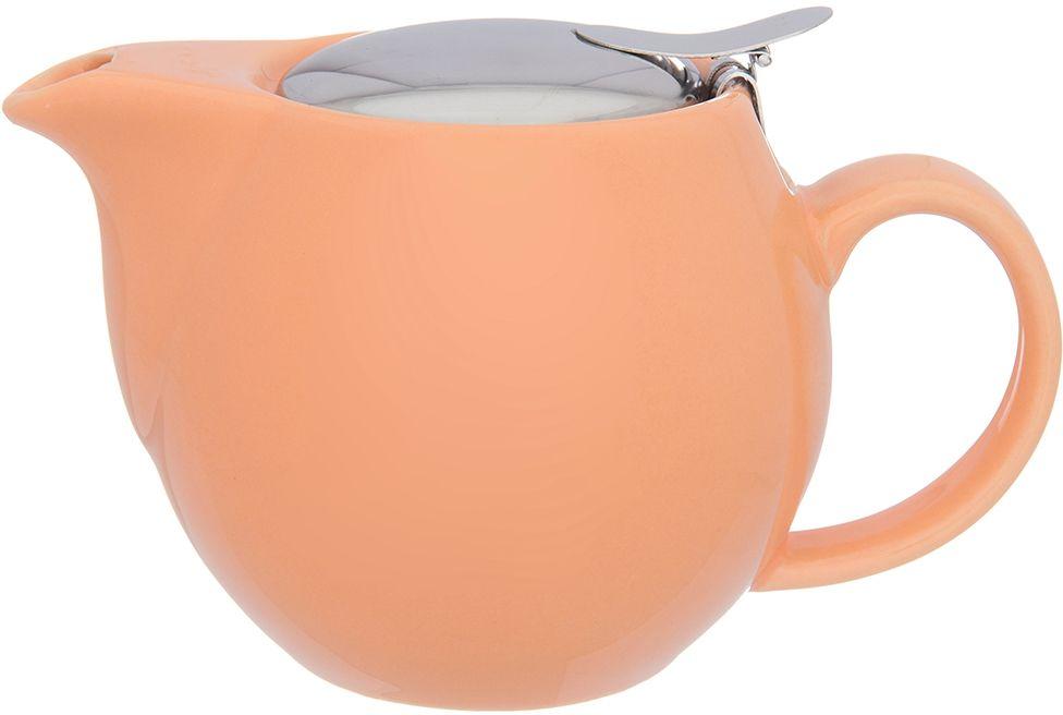 Чайник Elan Gallery Сочный персик, с ситом, 500 мл630023Изящный вместительный чайник объемом 550 мл удобной ручкой и широким носиком.В основании носика сделаны фильтрующие отверстия от попадания чаинок в чашку. Изделие имеет подарочную упаковку.