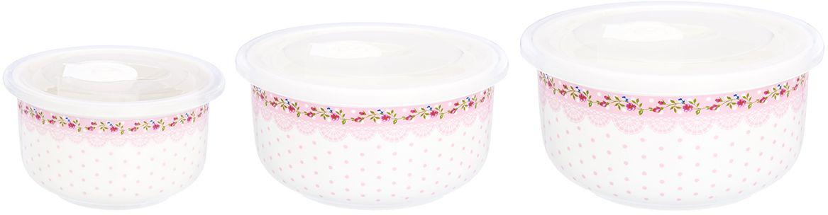 Набор салатников Elan Gallery Горошек с розами на розовом, с крышками, 3 предмета730718Набор из трех превосходных салатников очень удобны в использовании. Благодаря традиционной форме удобно сервировать горячее, салаты, фрукты, ягоды. Легко мыть, можно использовать в микроволновой печи, посудомоечной машине. Изделие имеет подарочную упаковку, поэтому станет желанным подарком для ваших близких!