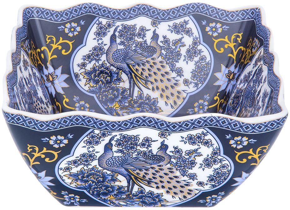 Салатник Elan Gallery Павлин, цвет: синий, 16 х 16 х 7,5 см