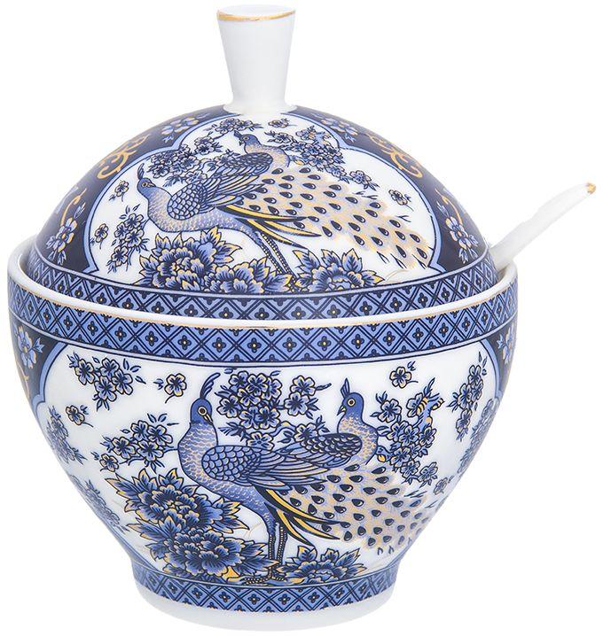 Сахарница Elan Gallery Павлин синий, с ложкой, 11 х 11 х 12,5 см740406Традиционная сахарница подойдет для сахара, и для соли, и для специй. Изделие имеет подарочную упаковку, поэтому станет желанным подарком для ваших близких!