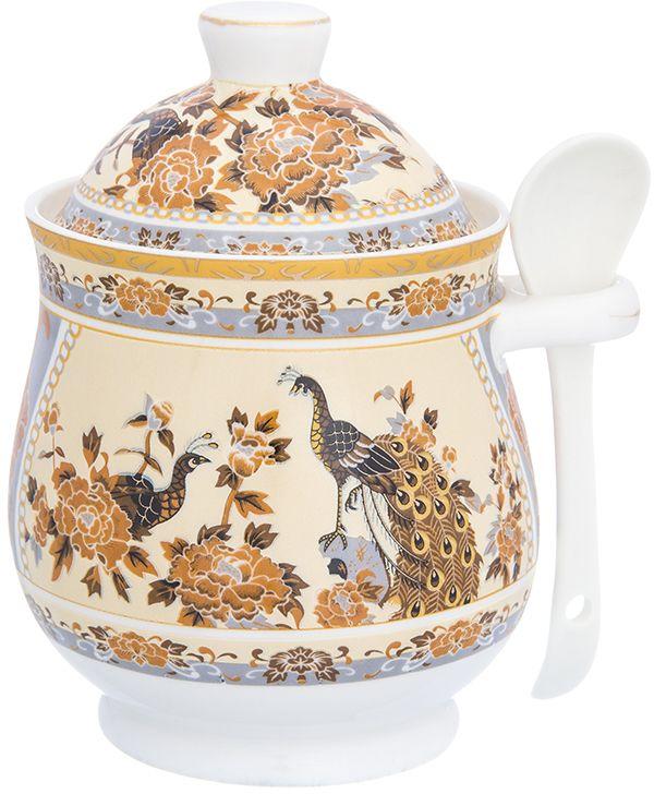 Горшочек для меда Elan Gallery Павлин на бежевом, с ложкой, 400 мл3317Горшочек для меда - удобный предмет для хранения любимого лакомства в оригинальном исполнении. Дополнит облик вашей кухни и прекрасно впишется в интерьер. Станет отличным подарком для любой хозяйки.