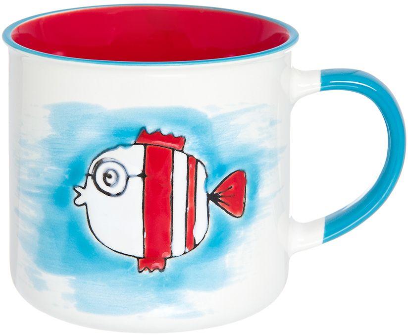 Кружка Elan Gallery Рыбка, цвет: бирюзовый, красный, 330 мл
