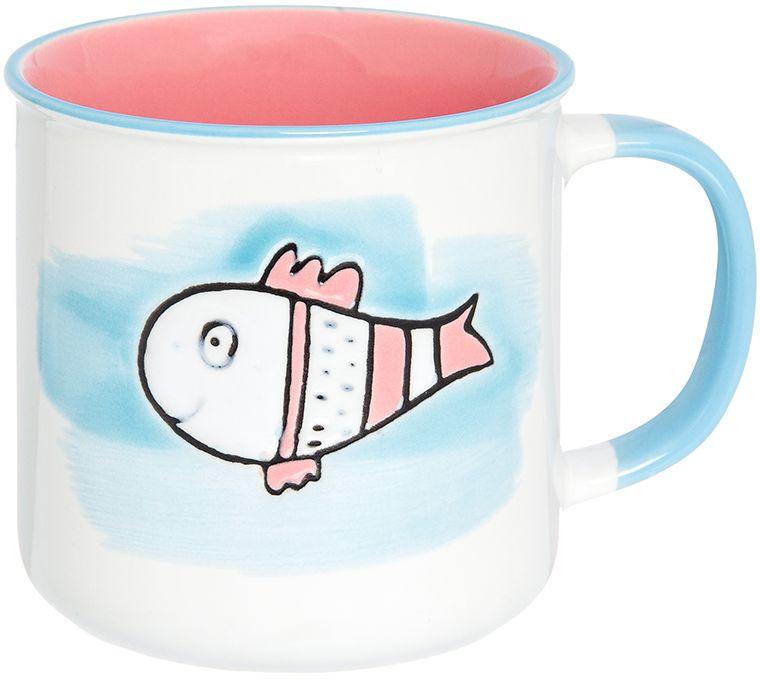 Кружка Elan Gallery Рыбка, цвет: розовый, голубой, 250 мл