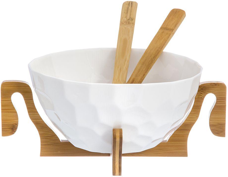 Салатник Elan Gallery Айсберг, с подставкой, с 2 ложками, 32 х 32 х 13,5 см950055Салатник Elan Gallery, изготовленный из высококачественного фарфора, оригинально украсит ваш стол или кухню. Прекрасно подойдет для подачи различных блюд: закусок и салатов. Также может использоваться в качестве фруктовницы и конфетницы.Такой салатник украсит ваш праздничный или обеденный стол, а оригинальное исполнение понравится любой хозяйке.Не рекомендуется применять абразивные моющие средства. Не использовать в микроволновой печи.