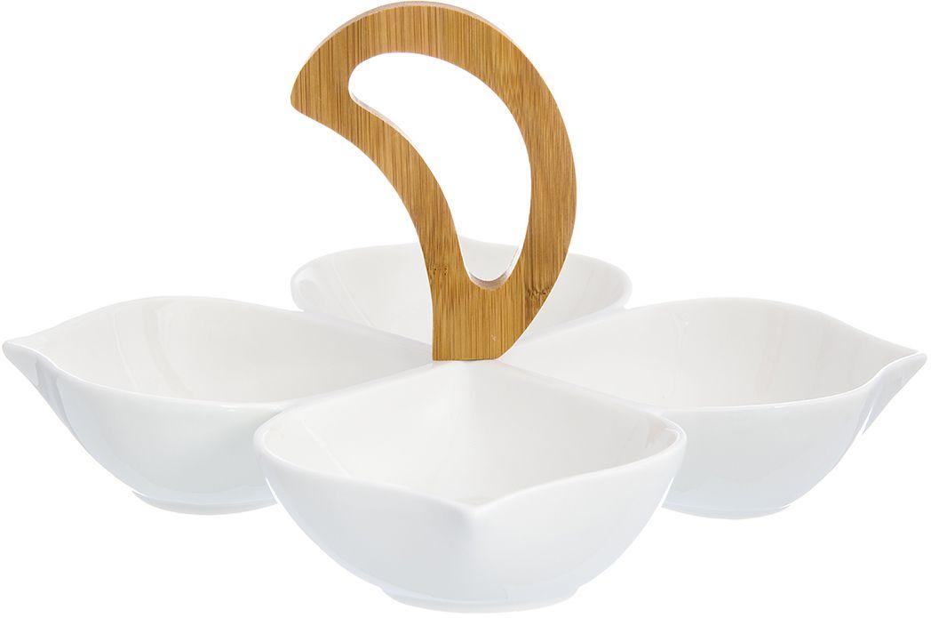 Менажница с 4 секциями - это великолепная идея для эстетичной и удобной сервировки вашего стола: яркая, нарядная, неординарная!  Размер: 22,5 х 22,5 х 15,5 см.  Объем: 200 мл каждая секция.