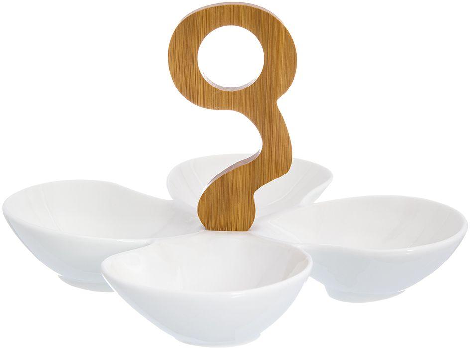 Менажница Elan Gallery Клевер, 4 секции, 21 х 21 х 16 см950059Менажница с 4 секциями - это великолепная идея для эстетичной и удобной сервировки вашего стола: яркая, нарядная, неординарная! Размер: 21 х 21 х 16 см. Объем: 100 мл каждая секция.