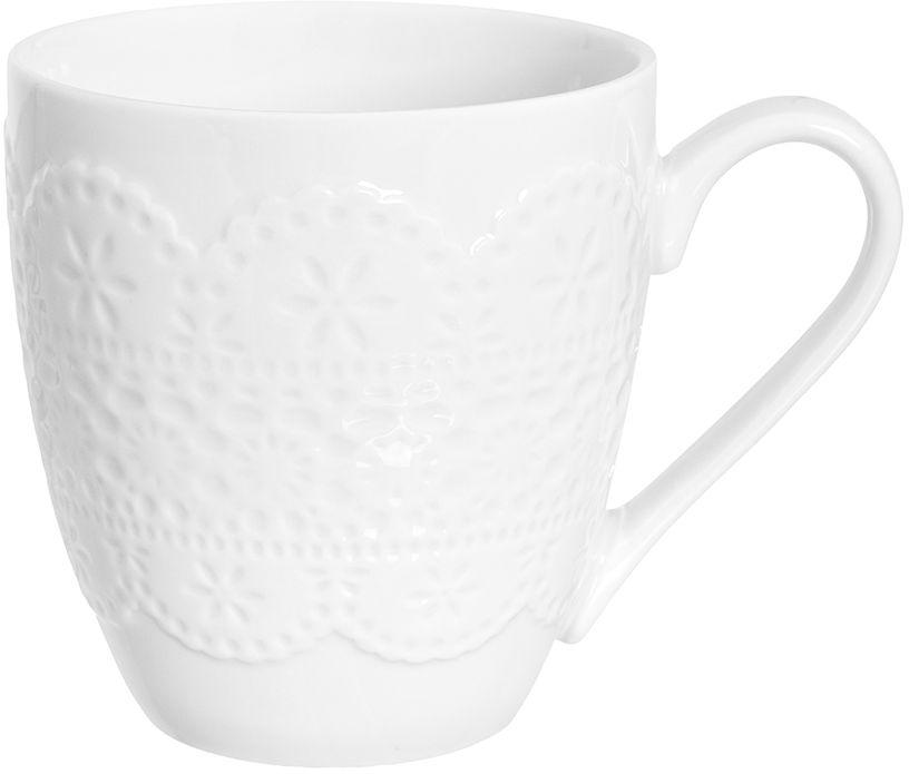 Кружка Elan Gallery Кружево, 350 мл950079Оригинальная кружка подойдет для чая, кофе и других напитков. Удобна в использовании благодаря устойчивой форме. Изделие имеет подарочную упаковку.