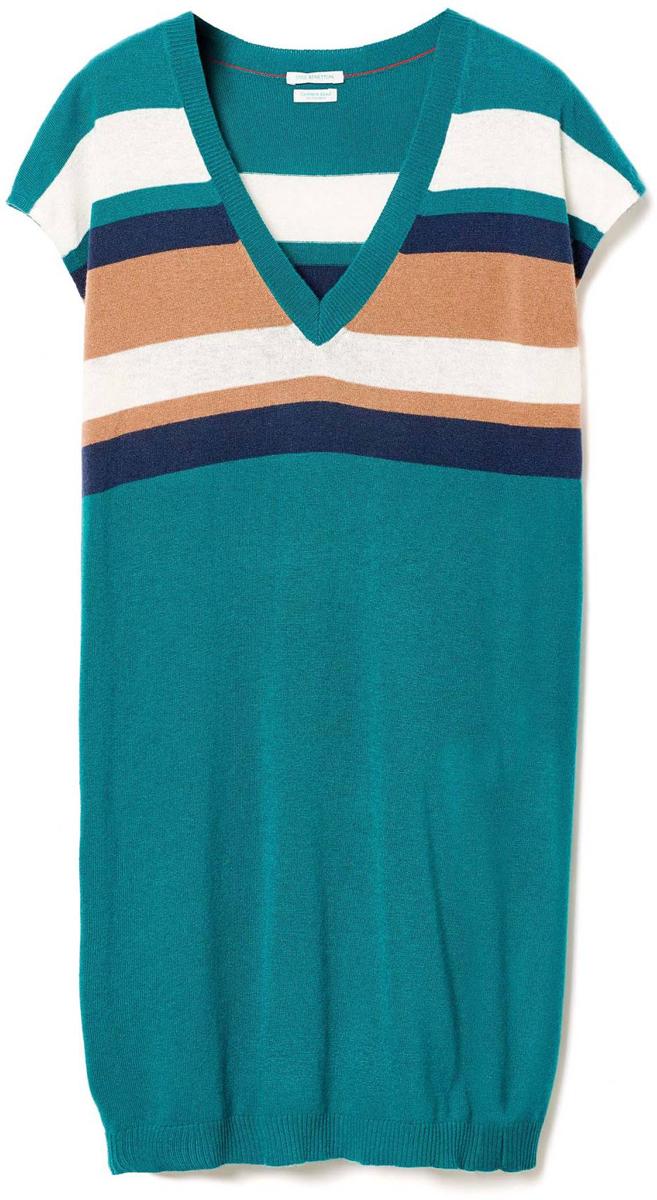 Платье женcкое United Colors of Benetton, цвет: зеленый. 108LV4338_28Y. Размер S (42/44)108LV4338_28YПлатье женское United Colors of Benetton выполнено из качественного материала. Модель с V-образным вырезом горловины оформлено принтом в полоску.