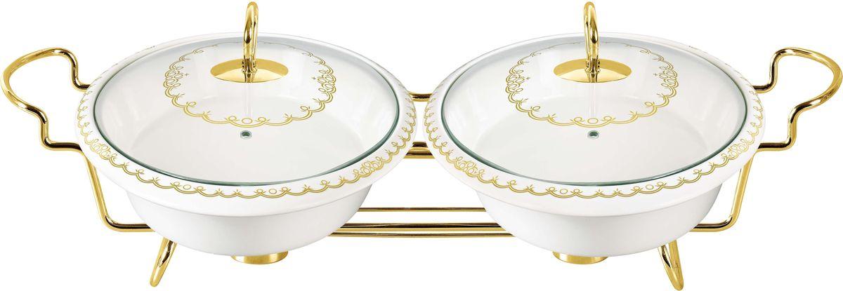 Мармит Bekker, двойной, с крышками, 2,6 л. BK-7388BK-7388Двойной мармит Bekker состоит из двух форм и изготовлен из жаропрочной керамики. Предназначен для приготовления или сохранения пищи в подогретом виде. Стеклянные крышки имеет ручки из нержавеющей стали золотистого цвета. Подставка выполнена из металла золотистого цвета.Подходит для использования (без крышки) в СВЧ, в духовом шкафу, чистки в посудомоечной машине. Объем одной формы: 1,3 л Размер одной формы: 33,9 х 23,3 х 5,9 см