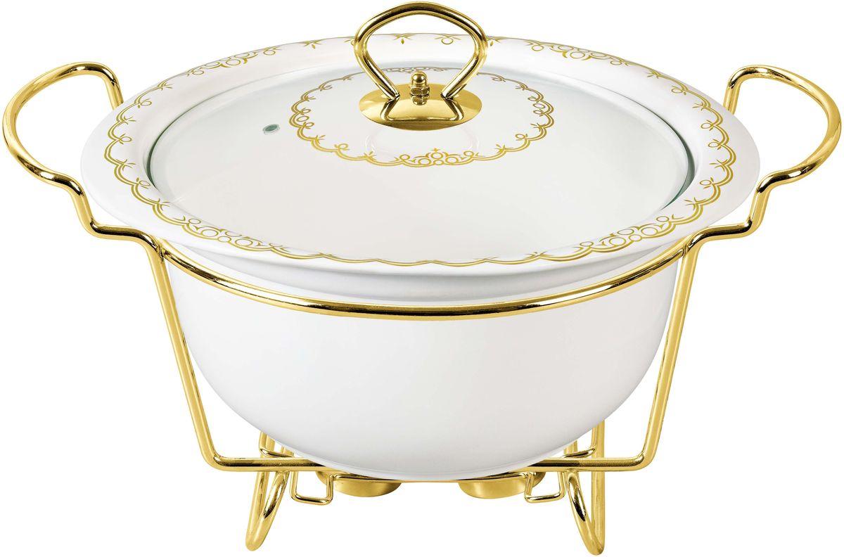 Мармит Bekker, с крышкой, на подставке, 2,6 л. BK-7395BK-7395Мармит Bekker изготовлен из жаропрочной керамики, предназначен для приготовления или сохранения пищи в подогретом виде. Стеклянная крышка имеет ручку из нержавеющей стали золотого цвета. Подставка выполнена из металла под золото. Подходит для использования (без крышки) в СВЧ, в духовом шкафу, чистки в посудомоечной машине. Объем: 2,6 л.