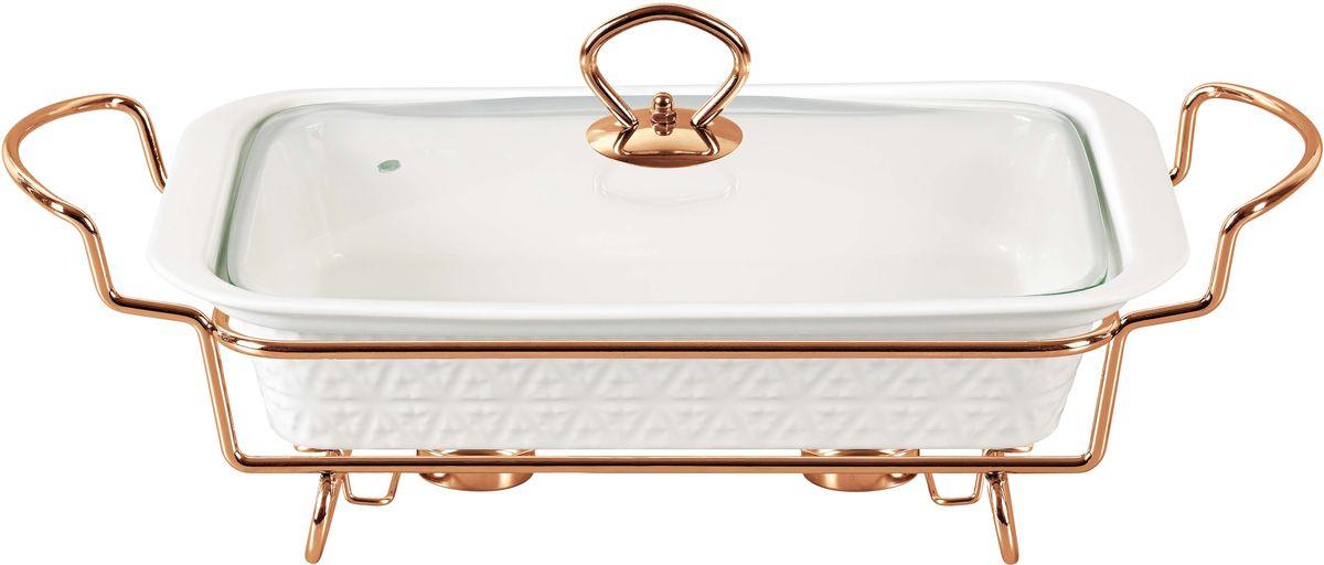Мармит Bekker, с крышкой, 2,5 л. BK-7398BK-73982,5л/(36,6*22,4*6.3см). Крышка стеклянная с ручкой из нержавеющей стали под розовое золото. Подставка металлическая под розовое золото. Предназначен для приготовления и/или сохранения пищи в подогретом виде. Подходит для использования (без крышки) в СВЧ , в духовом шкафу, чистки в посудомоечной машине. Состав: жаропрочная керамика.